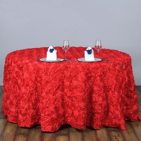 "120"" Coral Grandiose Rosette 3D Satin Round Tablecloth"