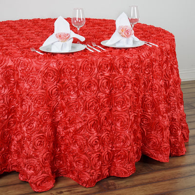 "120"" Grandiose Rosette 3D Satin Round Tablecloth - Coral"