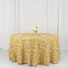 "120"" Champagne Grandiose Rosette 3D Satin Round Tablecloth"