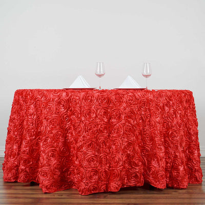 "132"" Coral Grandiose Rosette 3D Satin Round Tablecloth"
