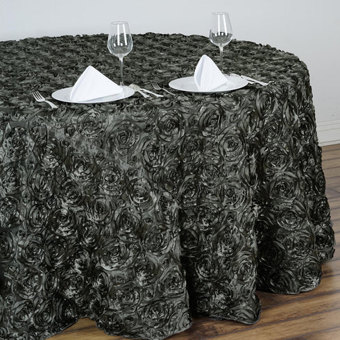 "132"" Charcoal Grey Grandiose Rosette 3D Satin Round Tablecloth"