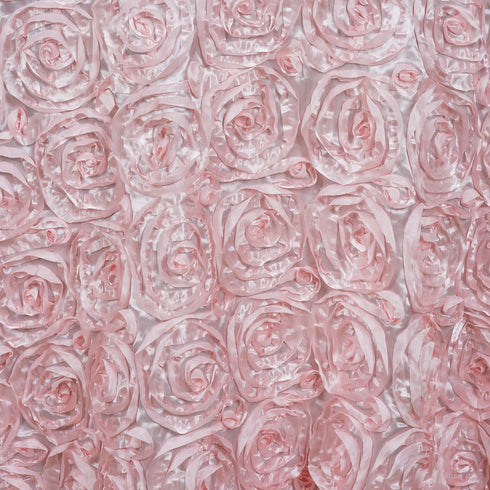 "132"" Grandiose Rosette 3D Satin Round Tablecloth - Rose Gold 