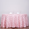 "132"" Blush Wholesale Grandiose Rosette 3D Satin Round Tablecloth For Wedding Party Event"