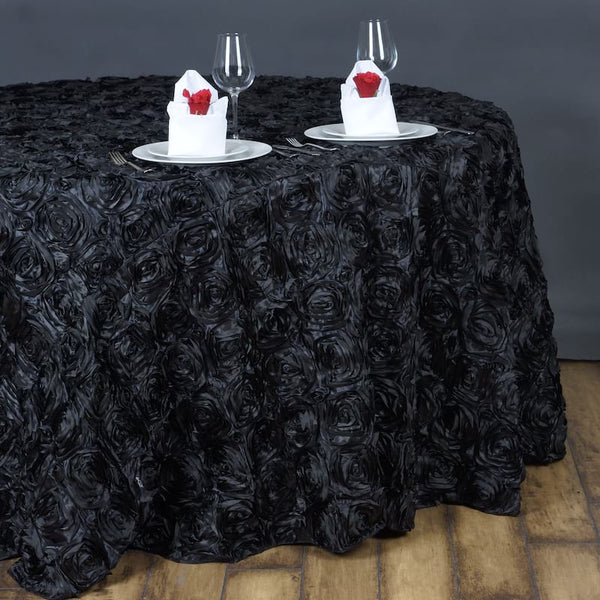 "132"" Black Grandiose Rosette 3D Satin Round Tablecloth"