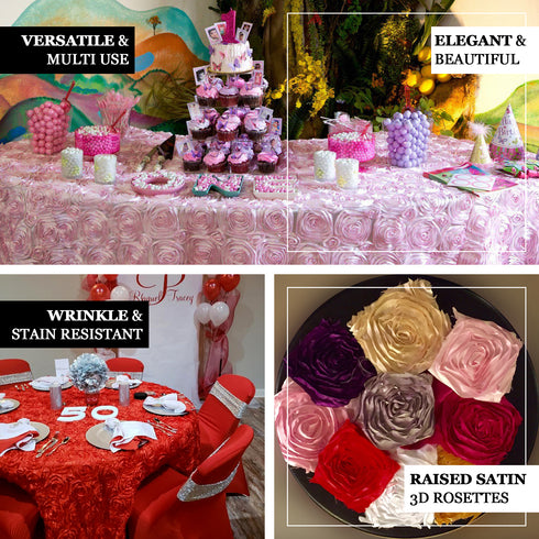 "132"" Fushia Grandiose Rosette 3D Satin Round Tablecloth"