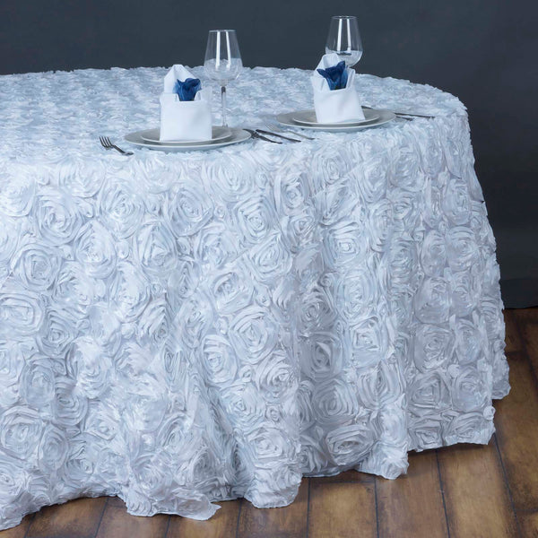 "132"" White Grandiose Rosette 3D Satin Round Tablecloth"