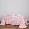 "90""x132"" Blush Wholesale Grandiose Rosette 3D Satin Rectangle Tablecloth For Wedding Party Event Decoration"