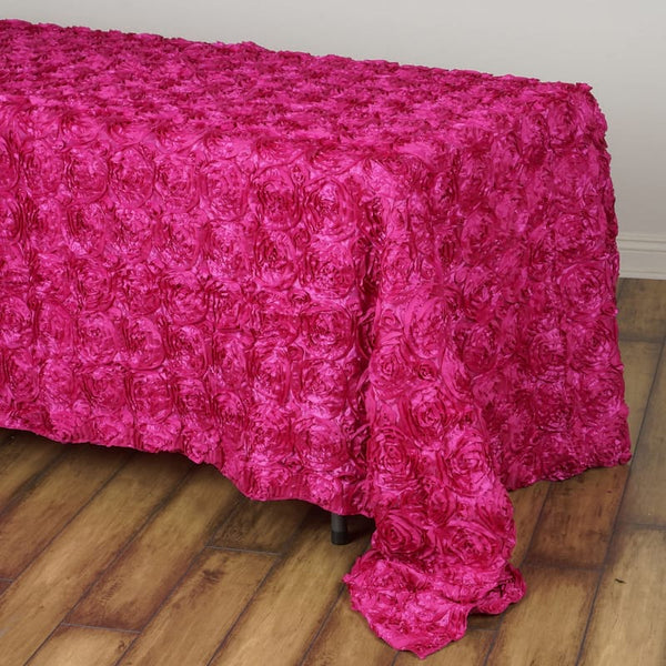 "90"" x 132"" Fushia Grandiose Rosette 3D Satin Rectangle Tablecloth"