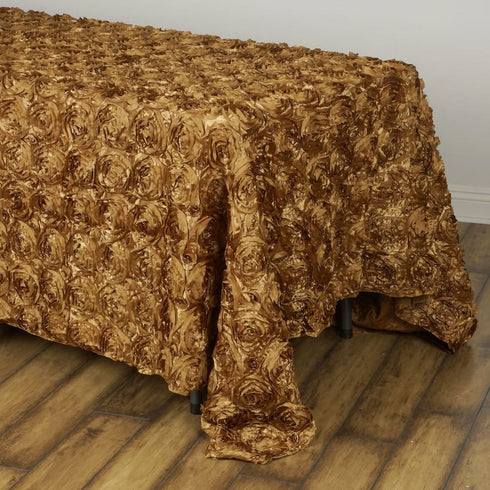 "Wonderland Rosette 90x132"" - Gold Tablecloth"