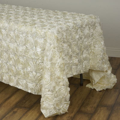 "Wonderland Rosette 90x132"" - Ivory Tablecloth"