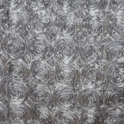 "Wonderland Rosette 90x132"" - Silver Tablecloth"