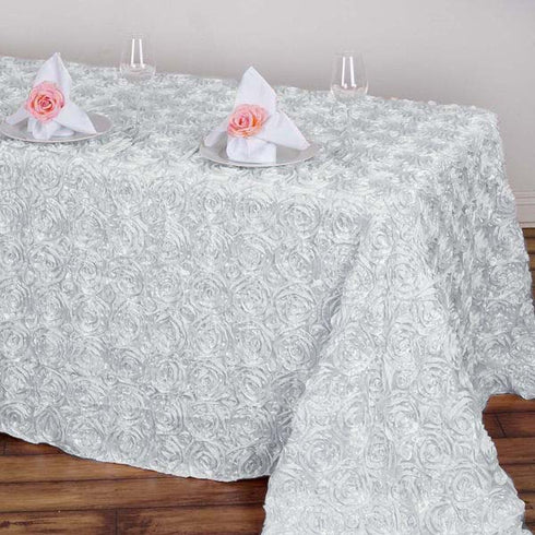 "90"" x 132"" White Grandiose Rosette 3D Satin Rectangle Tablecloth"