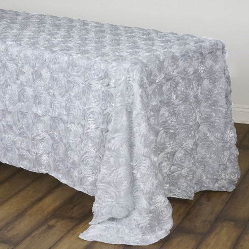 "Wonderland Rosette 90x132"" - White Tablecloth"