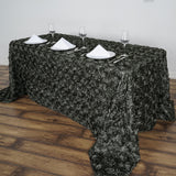 "90"" x 156"" Charcoal Grey Grandiose Rosette 3D Satin Rectangle Tablecloth"
