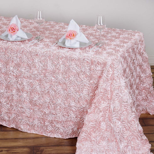 "90""x156"" Grandiose Rosette 3D Satin Rectangle Tablecloth - Rose Gold 