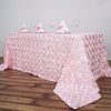 "90""x156"" Blush Wholesale Grandiose Rosette 3D Satin Rectangle Tablecloth For Wedding Party Event Decoration"