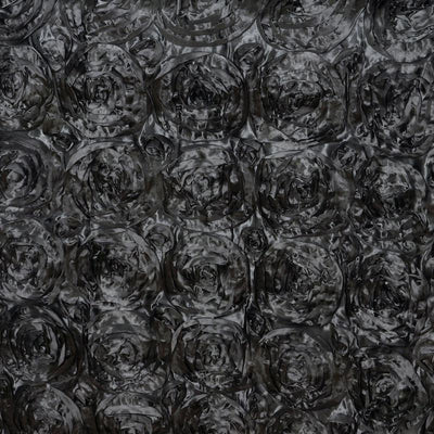 "Wonderland Rosette 90x156"" - Black Tablecloth"