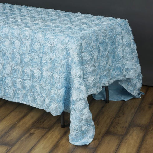 "Wonderland Rosette 90x156"" - Light Blue Tablecloth"
