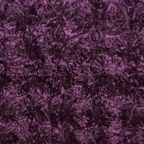 "Wonderland Rosette 90x156"" - Eggplant Tablecloth"