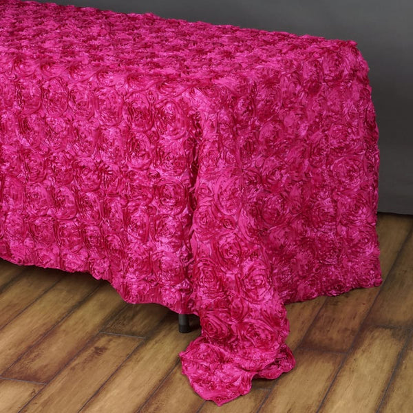 "90"" x 156"" Fushia Grandiose Rosette 3D Satin Rectangle Tablecloth"