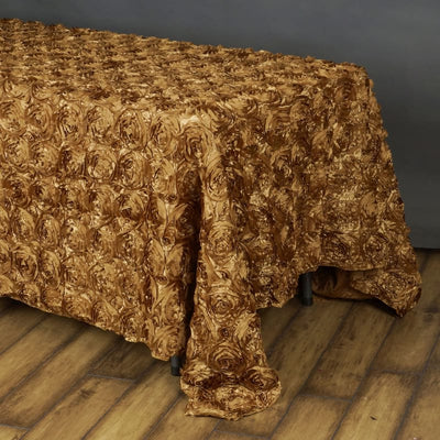 "Wonderland Rosette 90x156"" - Gold Tablecloth"