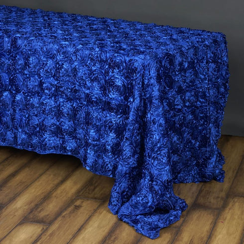 "Wonderland Rosette 90x156"" - Royal Blue Tablecloth"