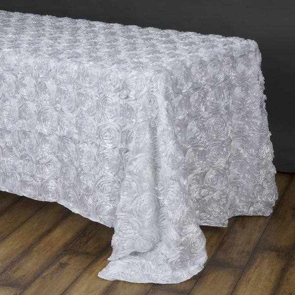 90 Quot X156 Quot Grandiose Rosette 3d Satin Rectangle Tablecloth