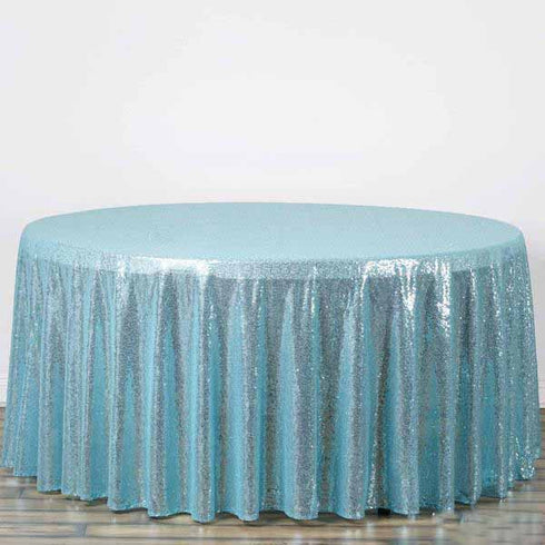 "108"" Premium Sequin Round Tablecloth - Serenity Blue"