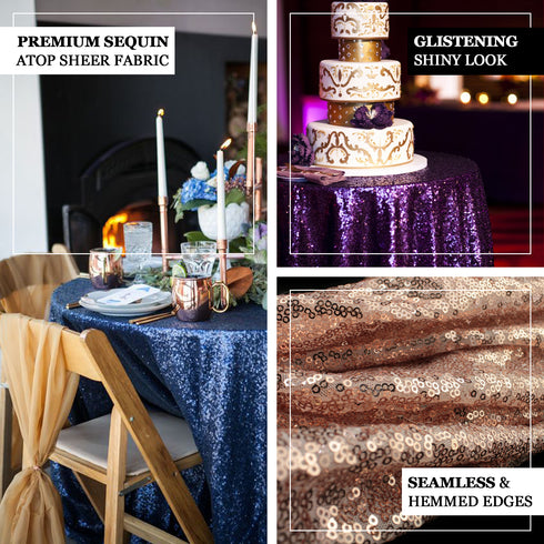 "108"" Silver Premium Sequin Round Tablecloth"