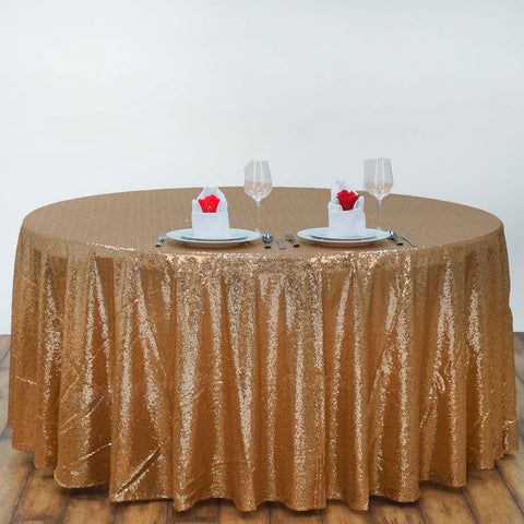 "108"" Wholesale Premium Gold Sequin Round Tablecloth For Wedding Banquet Party"