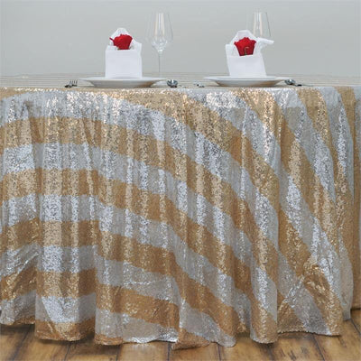 "120"" Premium Sequin Round Tablecloth - Stripe - Silver/Black"