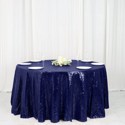 "120"" Premium Sequin Round Tablecloth - Navy"