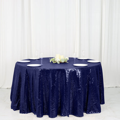 "120"" Navy Premium Sequin Round Tablecloth"