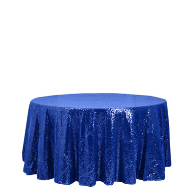 "120"" Royal Blue Premium Sequin Round Tablecloth"