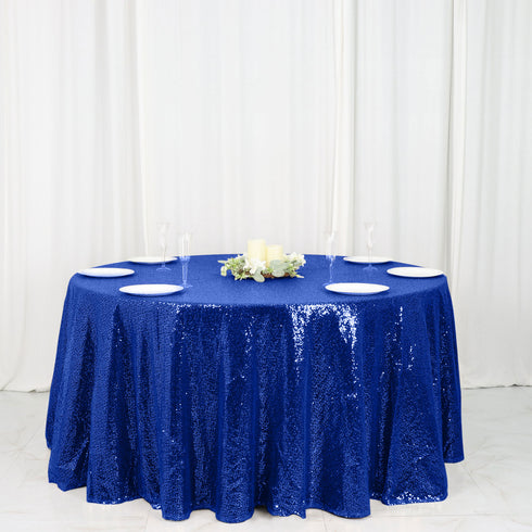 "120"" Wholesale Premium Royal Blue Sequin Round Tablecloth For Wedding Banquet Party"