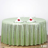 "120"" Wholesale Premium Tea Green Sequin Round Tablecloth For Wedding Banquet Party"
