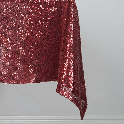 "54"" x 54"" Premium Sequin Square Tablecloth - Burgundy"