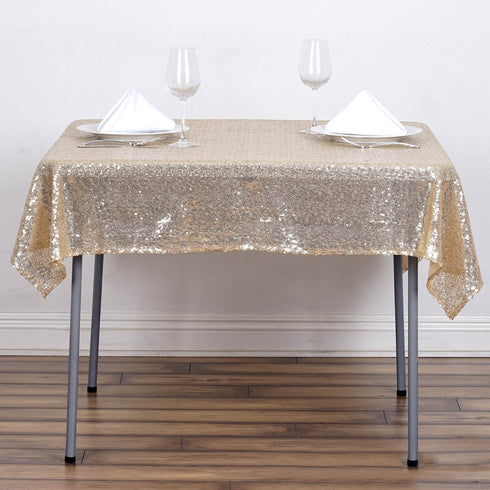 "54"" x 54"" Champagne Premium Sequin Square Tablecloth"