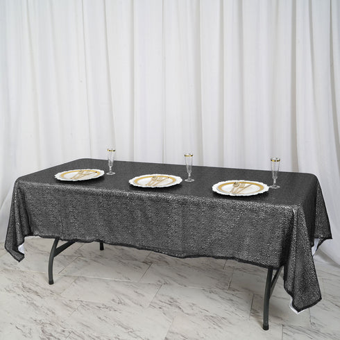 "LUXURY COLLECTION Duchess Sequin Tablecloth 60x102"" - Black"