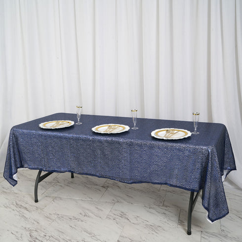 "60""x102"" Navy Premium Sequin Rectangle Tablecloth"