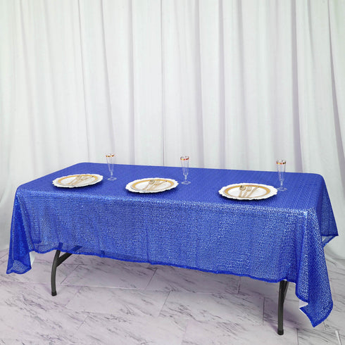 "LUXURY COLLECTION Duchess Sequin Tablecloth 60x102"" - Royal Blue"