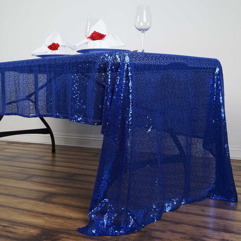 "LUXURY COLLECTION Duchess Sequin Tablecloth 60x126"" - Royal Blue"