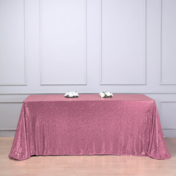 "90""x132"" Pink Premium Sequin Rectangle Tablecloth"