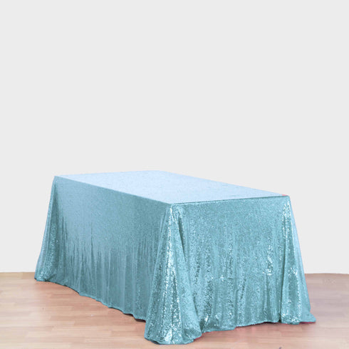 "LUXURY COLLECTION Duchess Sequin Tablecloth 90x132"" - Serenity Blue"