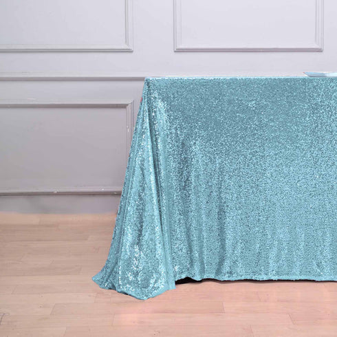 "90x132"" Serenity Blue Premium Sequin Rectangle Tablecloth"
