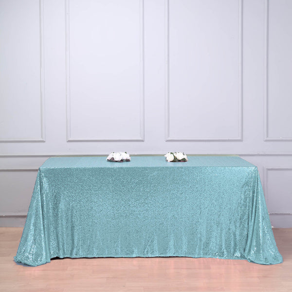 "90""x132"" Serenity Blue Premium Sequin Rectangle Tablecloth"