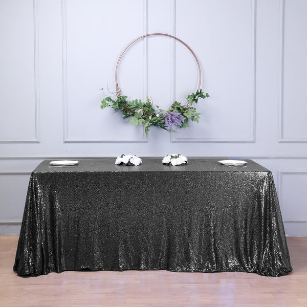 "90""x132"" Black Premium Sequin Rectangle Tablecloth"