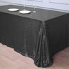 90 inch x 132 inch Black Premium Sequin Rectangle Tablecloth