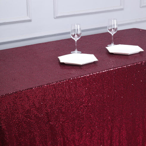 "90x132"" Burgundy Premium Sequin Rectangle Tablecloth"