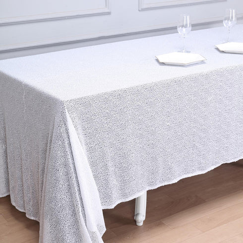 "90x132"" White Premium Sequin Rectangle Tablecloth"
